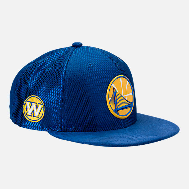 Front view of New Era Golden State Warriors NBA 2017 Draft Official On Court Collection 9FIFTY Snapback Hat in Team Colors