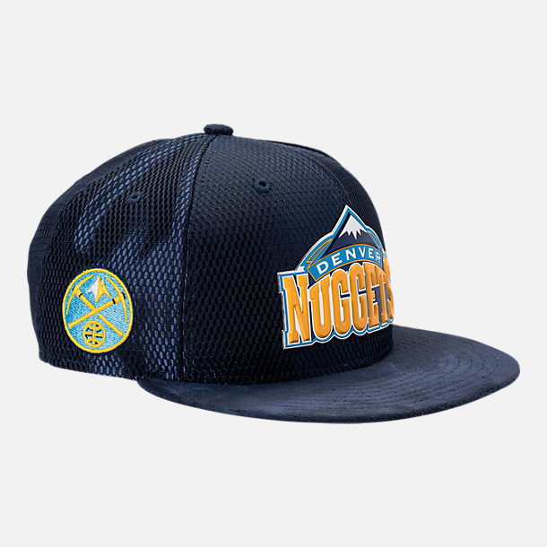 Front view of New Era Denver Nuggets NBA 2017 Draft Official On Court Collection 9FIFTY Snapback Hat in Team Colors