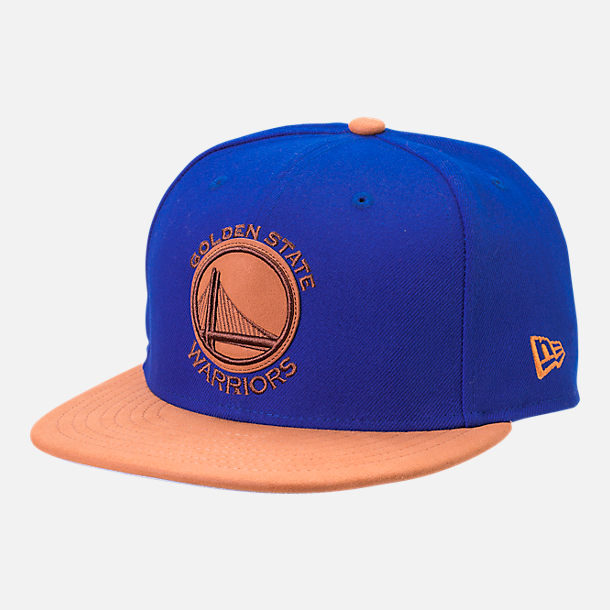 Front view of New Era Golden State Warriors NBA Leather Patch Adjustable Hat in Team Colors
