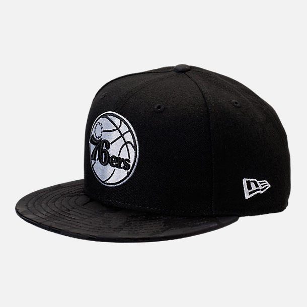 Front view of New Era Philadelphia 76ers NBA Camo Shade Hat in Black