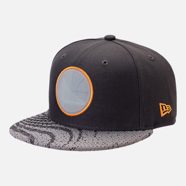Front view of New Era Golden State Warriors NBA Boost Redux 9FIFTY Snapback Hat in Grey/Orange