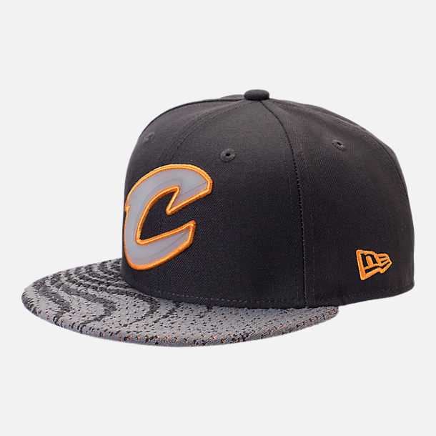 Front view of New Era Cleveland Cavaliers NBA Boost Redux 9FIFTY Snapback Hat in Grey/Orange
