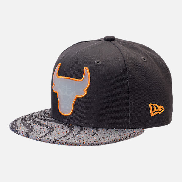 Front view of New Era Chicago Bulls NBA Boost Redux 9FIFTY Snapback Hat in Grey/Orange