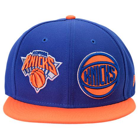 NEW YORK KNICKS NBA Y2K DOUBLE WHAMMY 9FIFTY SNAPBACK HAT, BLUE/ORANGE