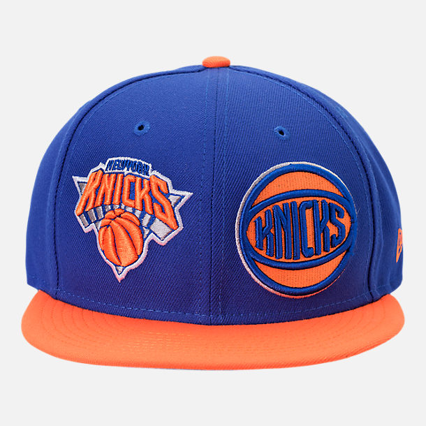 Front view of New Era New York Knicks NBA Y2K Double Whammy 9FIFTY Snapback Hat in Team Colors