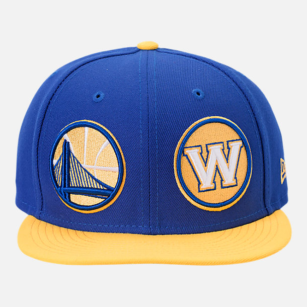 Front view of New Era Golden State Warriors NBA Y2K Double Whammy 9FIFTY Snapback Hat in Team Colors