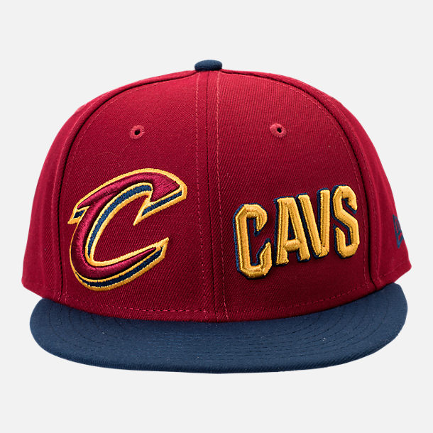 Front view of New Era Cleveland Cavaliers NBA Y2K Double Whammy 9FIFTY Snapback Hat in Team Colors