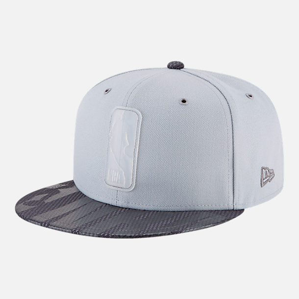 Front view of New Era NBA Logo Man All-Star Series Snapback Hat in Grey