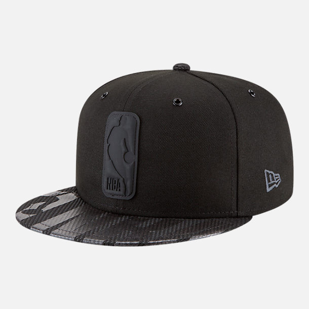 Front view of New Era NBA Logo Man All Star Series Snapback Hat in Black