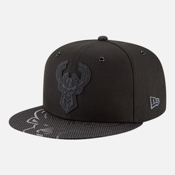 Front view of New Era Milwaukee Bucks NBA All-Star Series Snapback Hat in Black