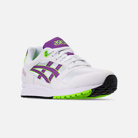 Three Quarter view of Men's Asics GEL-Saga Casual Shoes in White/Orchid