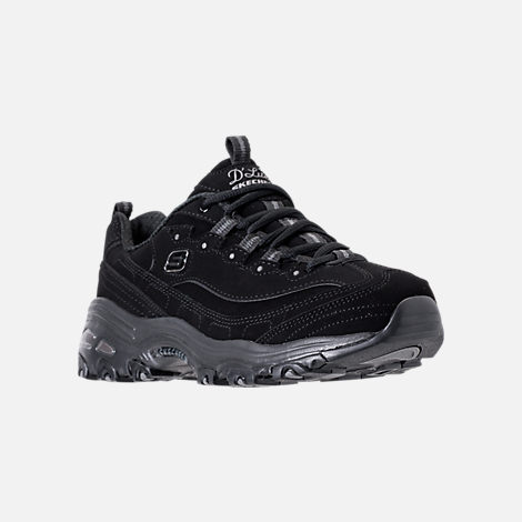 Three Quarter view of Women's Skechers D'Lites - Play On Walking Shoes in Black/Black