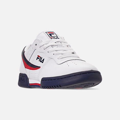 Three Quarter view of Men's FILA Original Fitness Casual Shoes in White/Navy/Red