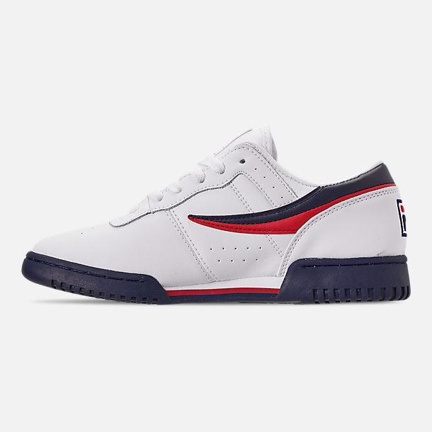 Left view of Men's FILA Original Fitness Casual Shoes in White/Navy/Red