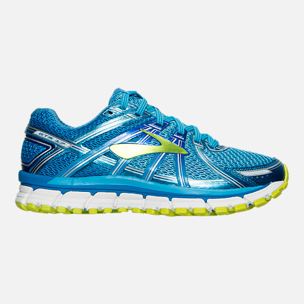 Right view of Women's Brooks Adrenaline 17 GTS Running Shoes in Azure Blue/Palace Blue/Lime Punch