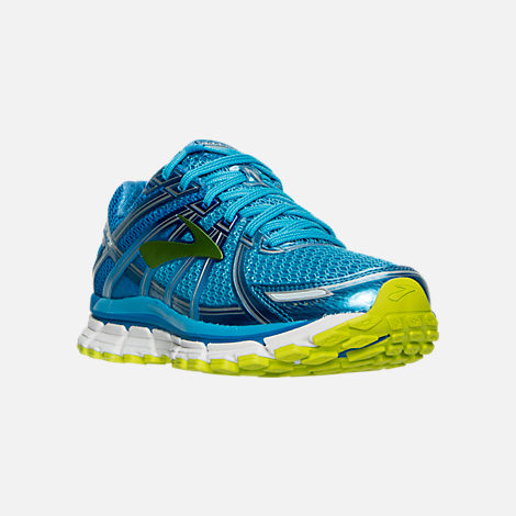 Three Quarter view of Women's Brooks Adrenaline 17 GTS Running Shoes in Azure Blue/Palace Blue/Lime Punch