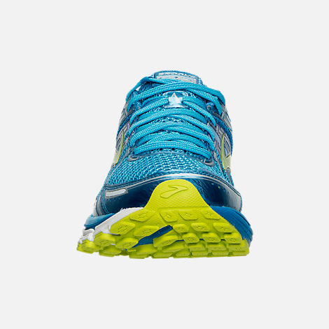 Front view of Women's Brooks Adrenaline 17 GTS Running Shoes in Azure Blue/Palace Blue/Lime Punch