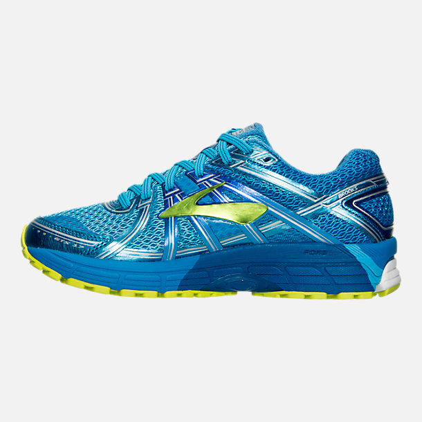Left view of Women's Brooks Adrenaline 17 GTS Running Shoes in Azure Blue/Palace Blue/Lime Punch