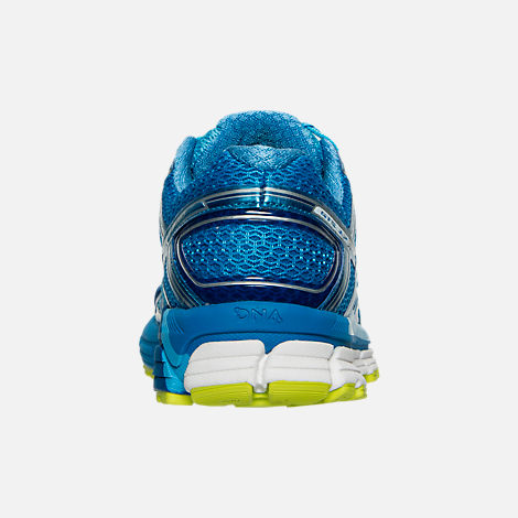 Back view of Women's Brooks Adrenaline 17 GTS Running Shoes in Azure Blue/Palace Blue/Lime Punch