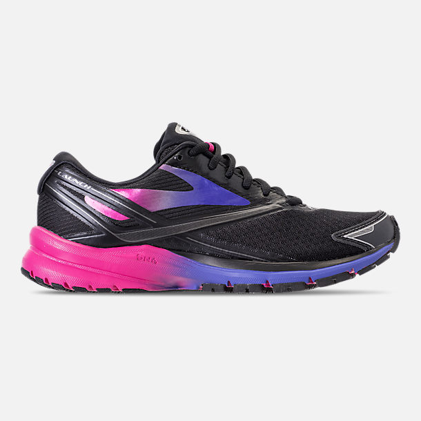 Right view of Women's Brooks Launch 4 Running Shoes in Black/Fuchsia Purple/Dazzling Blue