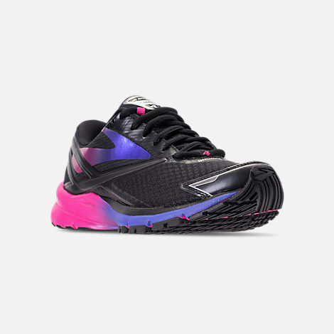 Three Quarter view of Women's Brooks Launch 4 Running Shoes in Black/Fuchsia Purple/Dazzling Blue
