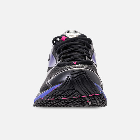 Front view of Women's Brooks Launch 4 Running Shoes in Black/Fuchsia Purple/Dazzling Blue