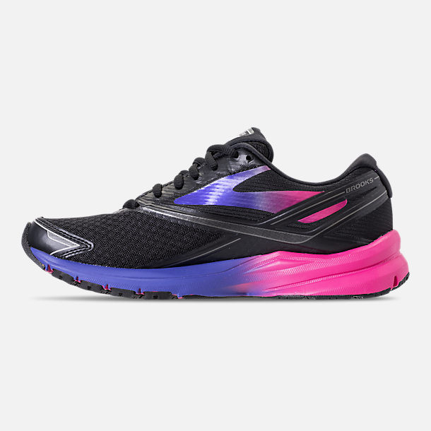 Left view of Women's Brooks Launch 4 Running Shoes in Black/Fuchsia Purple/Dazzling Blue