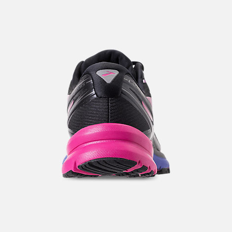 Back view of Women's Brooks Launch 4 Running Shoes in Black/Fuchsia Purple/Dazzling Blue