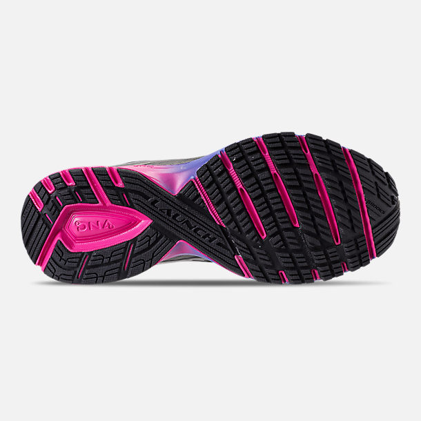 Bottom view of Women's Brooks Launch 4 Running Shoes in Black/Fuchsia Purple/Dazzling Blue