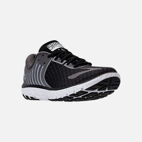 Three Quarter view of Women's Brooks PureFlow 6 Running Shoes in Black/Anthracite/Silver