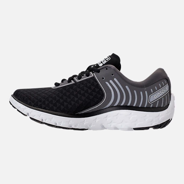 Left view of Women's Brooks PureFlow 6 Running Shoes in Black/Anthracite/Silver