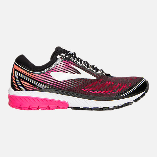 Right view of Women's Brooks Ghost 10 Running Shoes in Pink/Orange/Black/White