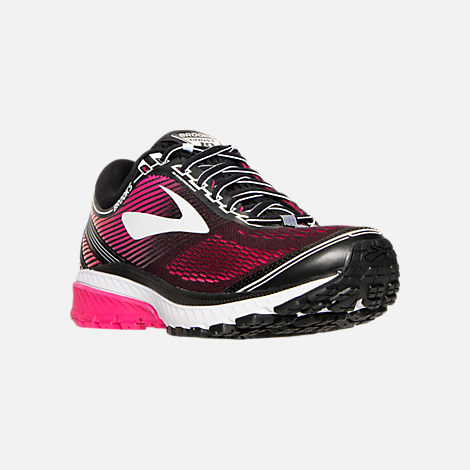 Three Quarter view of Women's Brooks Ghost 10 Running Shoes in Pink/Orange/Black/White