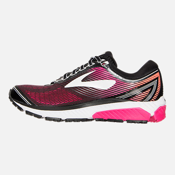 Left view of Women's Brooks Ghost 10 Running Shoes in Pink/Orange/Black/White