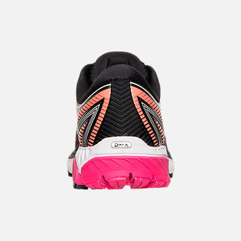 Back view of Women's Brooks Ghost 10 Running Shoes in Pink/Orange/Black/White