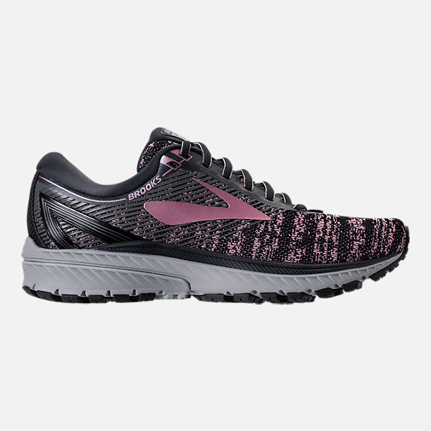 Right view of Women's Brooks Ghost 10 Running Shoes in Grey/Rose Gold/Black