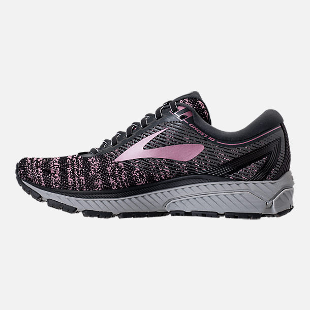Left view of Women's Brooks Ghost 10 Running Shoes in Grey/Rose Gold/Black