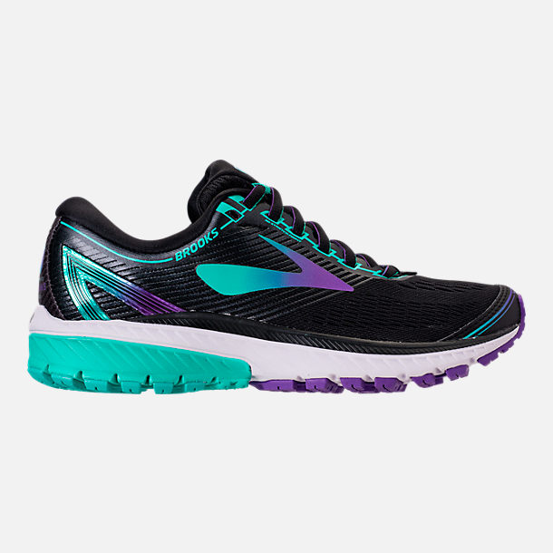 Right view of Women's Brooks Ghost 10 Special Olympics Edition Running Shoes in Black/Turquoise/Purple