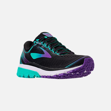Three Quarter view of Women's Brooks Ghost 10 Special Olympics Edition Running Shoes in Black/Turquoise/Purple