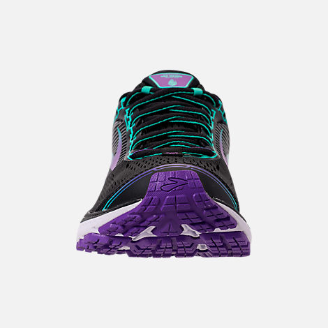 Front view of Women's Brooks Ghost 10 Special Olympics Edition Running Shoes in Black/Turquoise/Purple