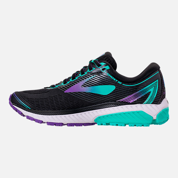 Left view of Women's Brooks Ghost 10 Special Olympics Edition Running Shoes in Black/Turquoise/Purple