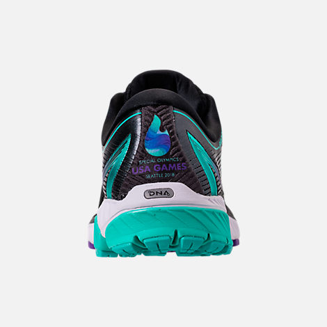 Back view of Women's Brooks Ghost 10 Special Olympics Edition Running Shoes in Black/Turquoise/Purple