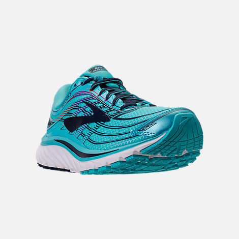 Three Quarter view of Women's Brooks Glycerin 15 Running Shoes in Capri/Evening Blue/Purple Cactus Flower