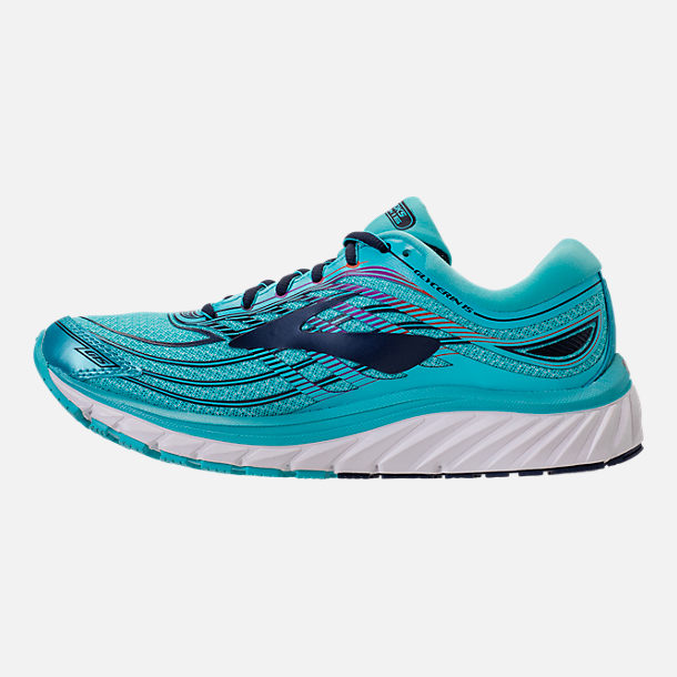 Left view of Women's Brooks Glycerin 15 Running Shoes in Capri/Evening Blue/Purple Cactus Flower