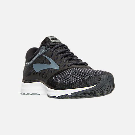 Three Quarter view of Women's Brooks Revel Running Shoes in Black/Anthracite/White