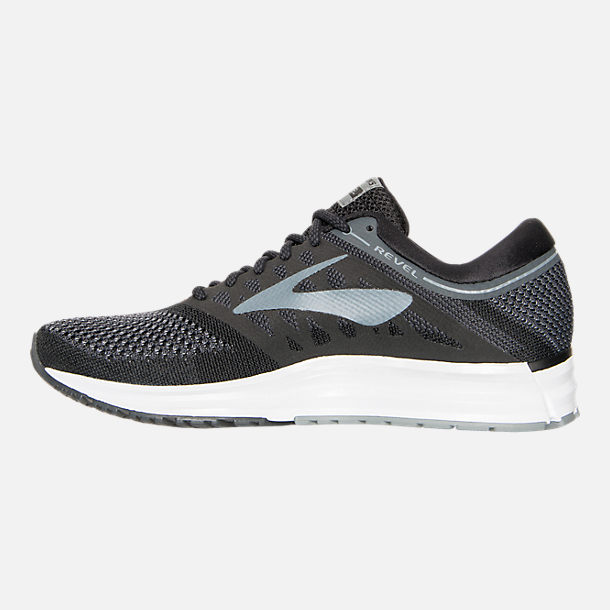 Left view of Women's Brooks Revel Running Shoes in Black/Anthracite/White