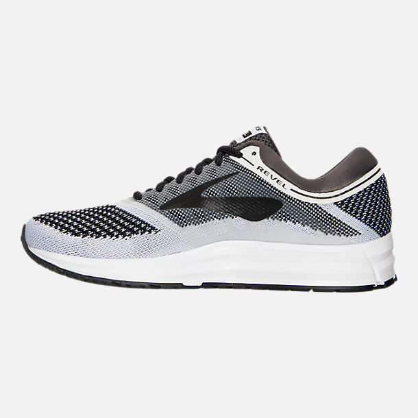 Left view of Women's Brooks Revel Running Shoes in White/Anthracite/Black
