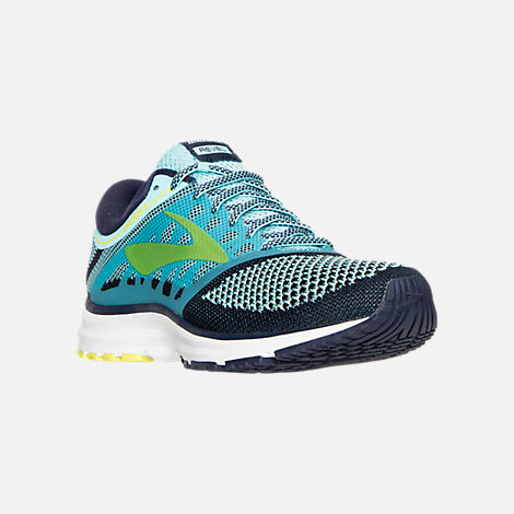 Three Quarter view of Women's Brooks Revel Running Shoes in Teal/Navy/Yellow