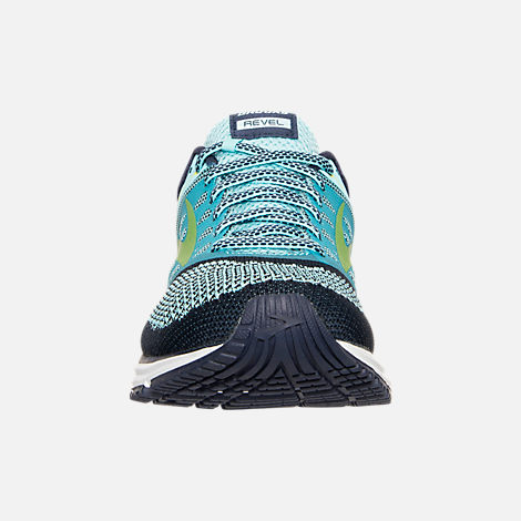 Front view of Women's Brooks Revel Running Shoes in Teal/Navy/Yellow