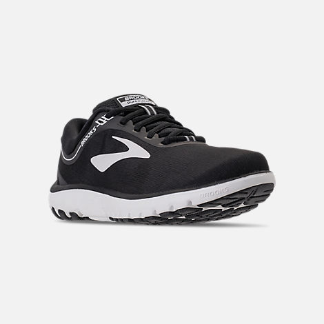 Three Quarter view of Women's Brooks PureFlow 7 Running Shoes in Black/White